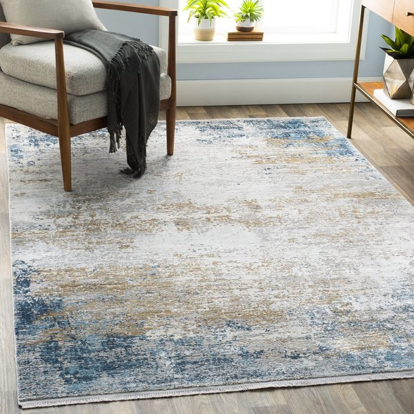 Blue, Taupe, Grey Abstract Area Rug