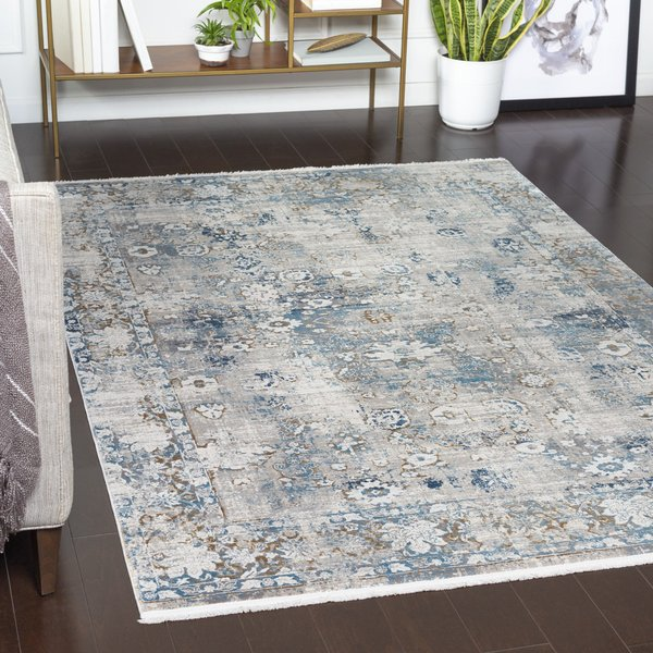 Dark Blue, Taupe, Grey Vintage / Overdyed Area Rug