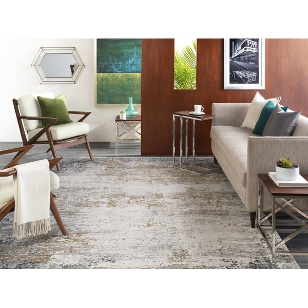 Taupe, Bright Yellow, Grey Abstract Area-Rugs
