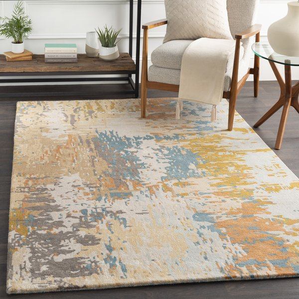 Camel, Teal, Mustard Abstract Area Rug