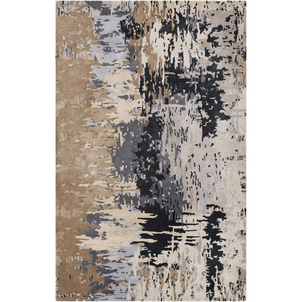 Taupe, Black, Grey Abstract Area Rug