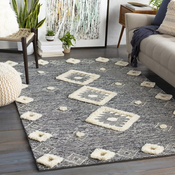 Black, Ivory (BAN-2300) Moroccan Area-Rugs