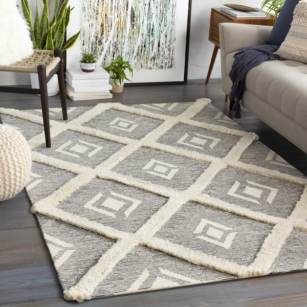 Charcoal, Ivory (BAN-2303) Contemporary / Modern Area-Rugs