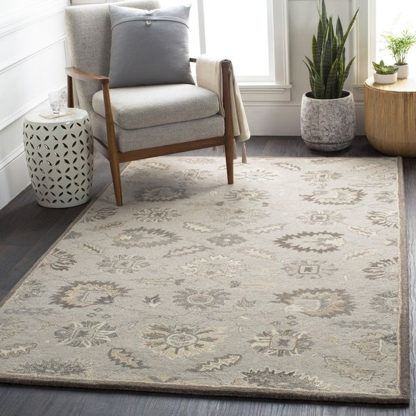 Taupe, Beige, Charcoal Traditional / Oriental Area Rug