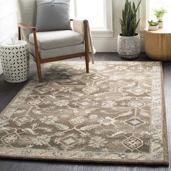 Dark Brown, Black, Charcoal Traditional / Oriental Area Rug