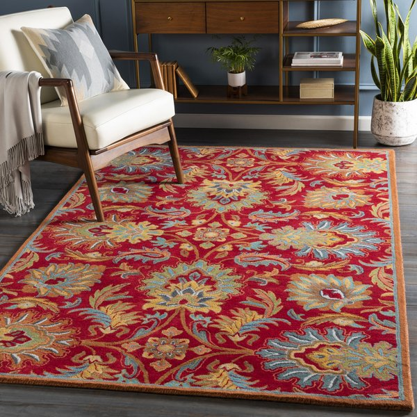 Red, Teal, Mustard (CAE-1213) Traditional / Oriental Area Rug