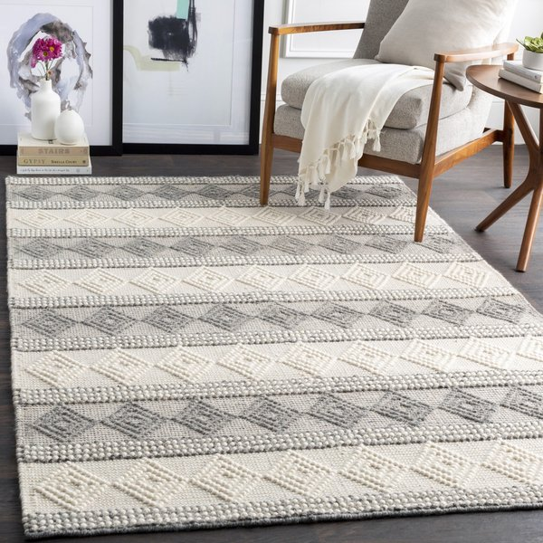 Charcoal, White Country Area Rug