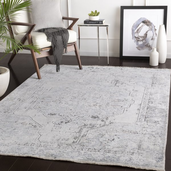Light Blue, Cream, Charcoal Vintage / Overdyed Area Rug