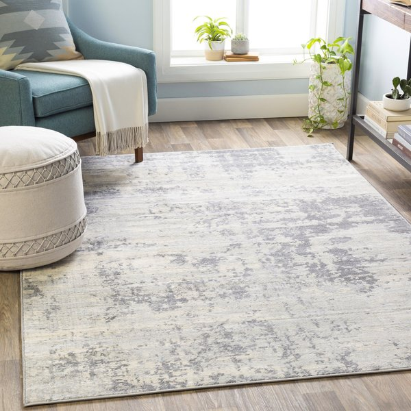 Silver Abstract Area Rug