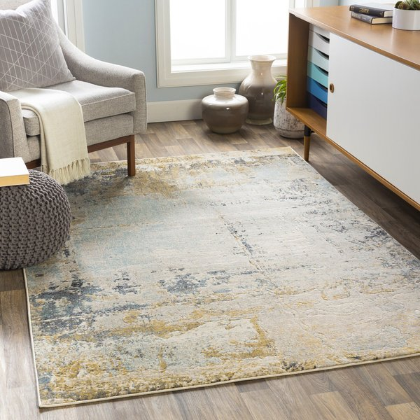 Yellow, Beige, Grey Contemporary / Modern Area-Rugs