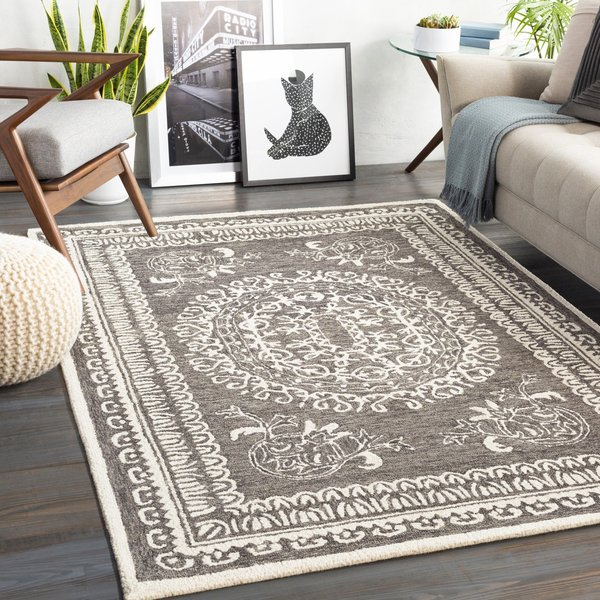 Charcoal, Cream (NCS-2305) Traditional / Oriental Area Rug