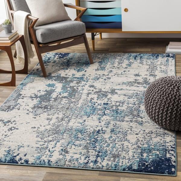 Blue Contemporary / Modern Area-Rugs