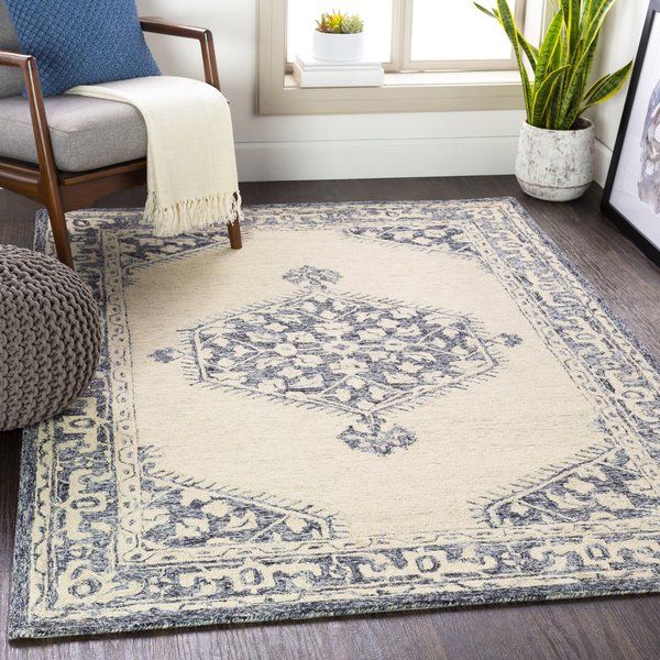 Black, Charcoal, Light Grey (GND-2305) Traditional / Oriental Area Rug