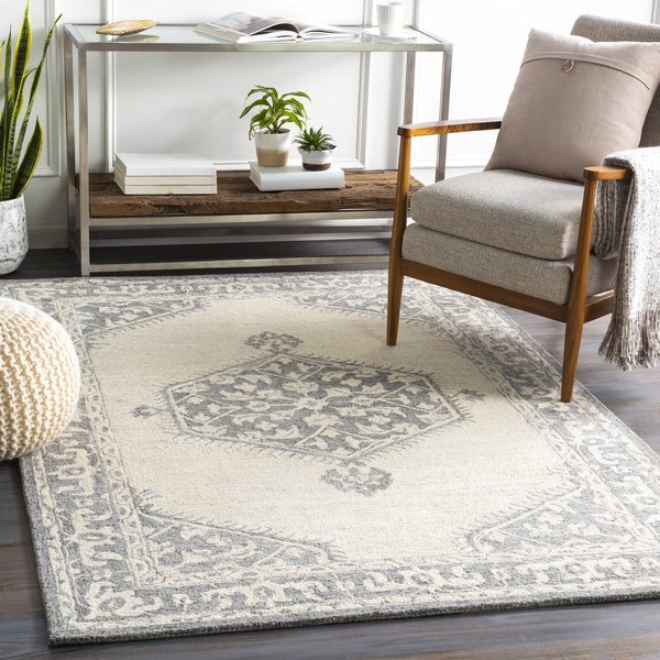 Medium Grey, Beige, Charcoal (GND-2307) Traditional / Oriental Area-Rugs