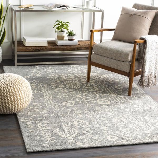 Medium Grey, Beige, Charcoal (GND-2312) Contemporary / Modern Area Rug