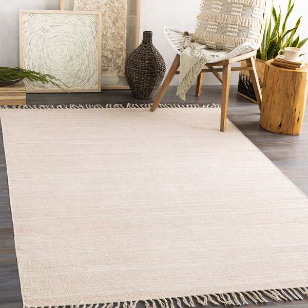 Coral, Ivory Contemporary / Modern Area-Rugs
