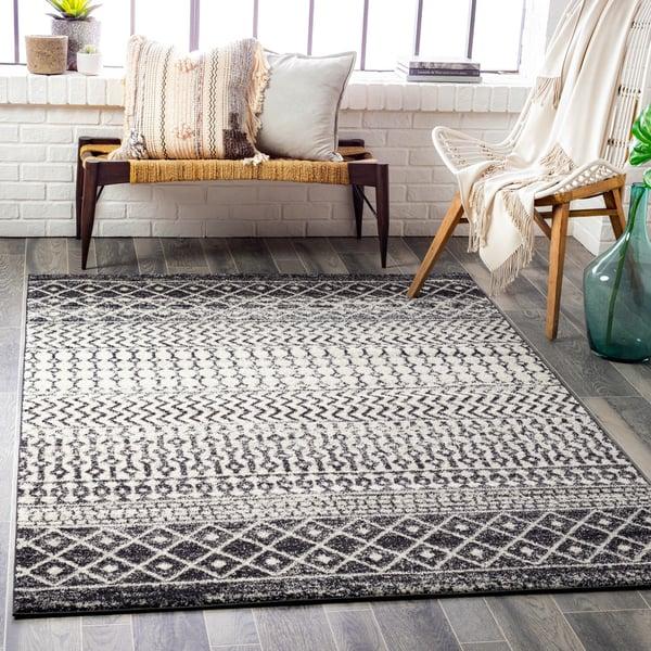 Black, Grey (ELZ-2307) Moroccan Area Rug