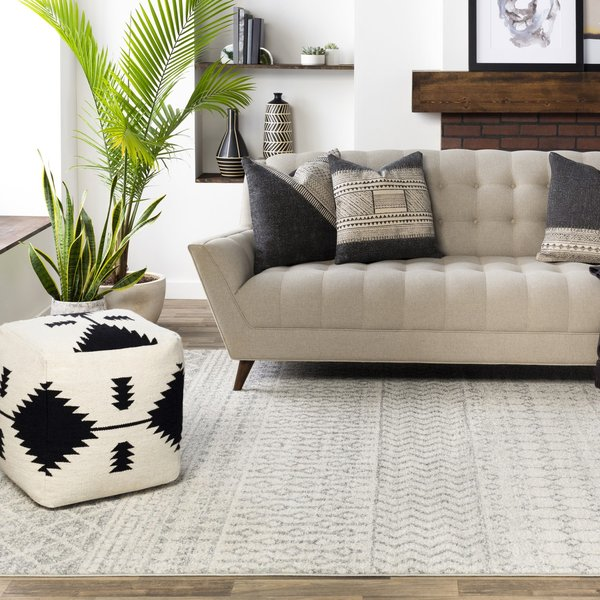 Grey, White (ELZ-2308) Moroccan Area Rug