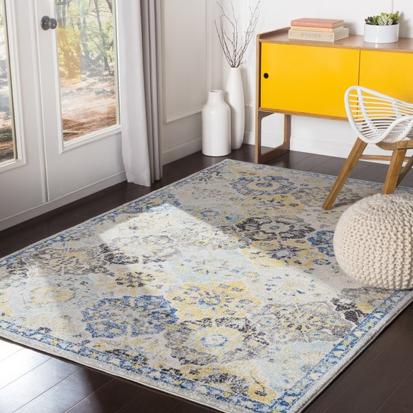 Blue, Cream, Yellow Vintage / Overdyed Area-Rugs