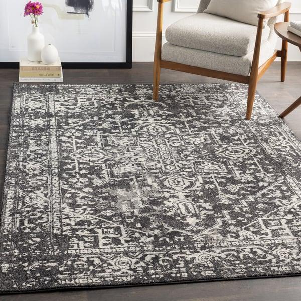 Black, Light Grey Vintage / Overdyed Area-Rugs
