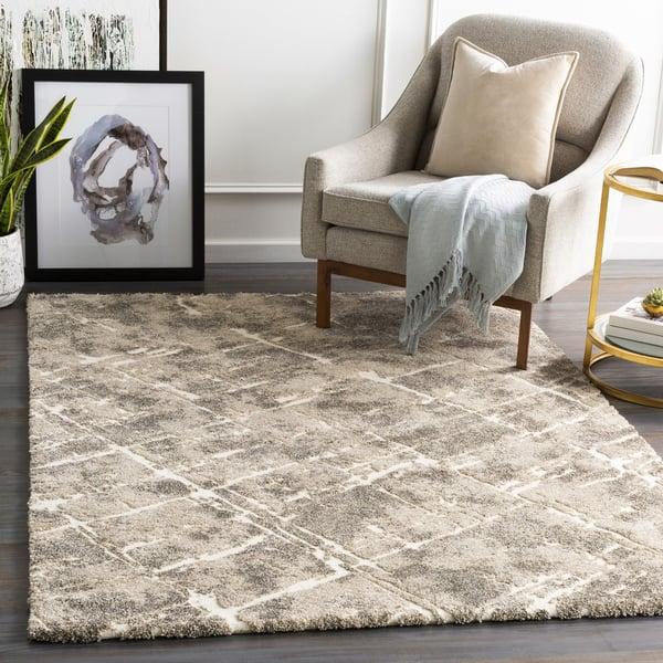 Khaki, Cream, Brown Contemporary / Modern Area-Rugs