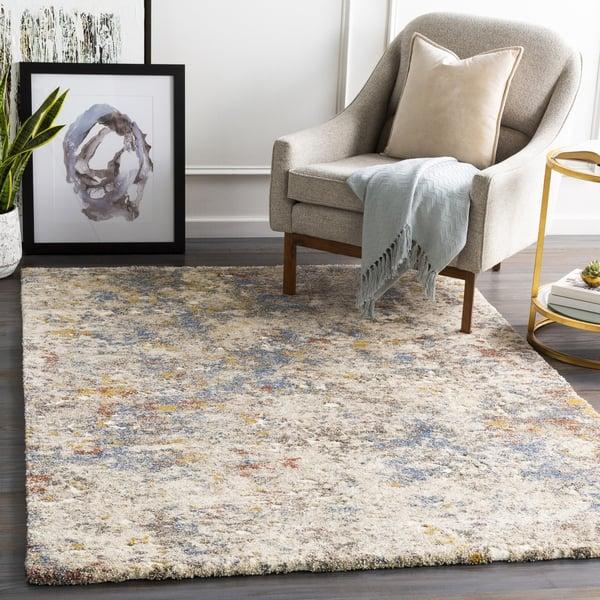 Khaki, Blue, Gold Abstract Area Rug