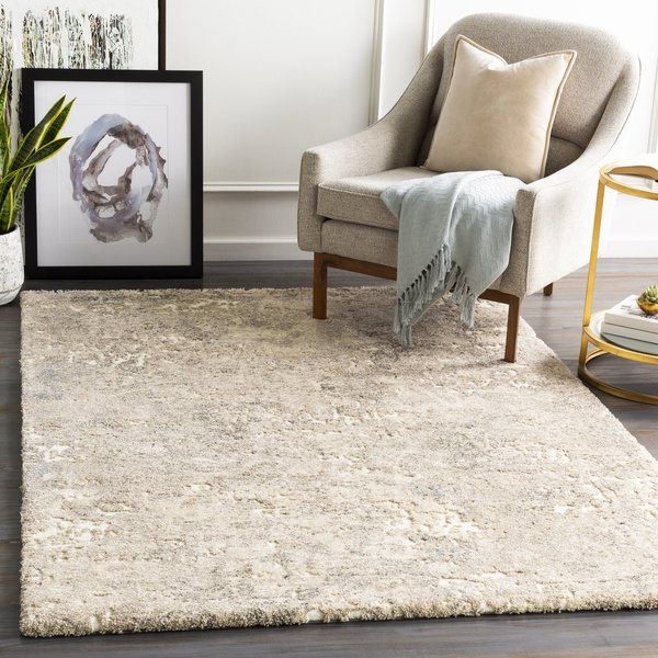 Khaki, Champagne, Cream Abstract Area Rug