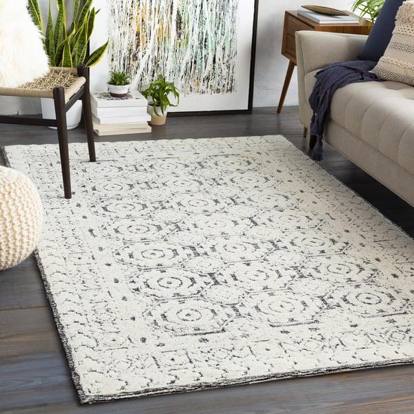 Black, Ivory (LOU-2303) Contemporary / Modern Area-Rugs