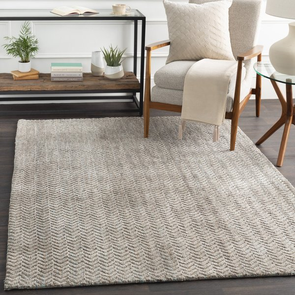 Taupe, Brown, Blue (TLE-1001) Chevron Area Rug