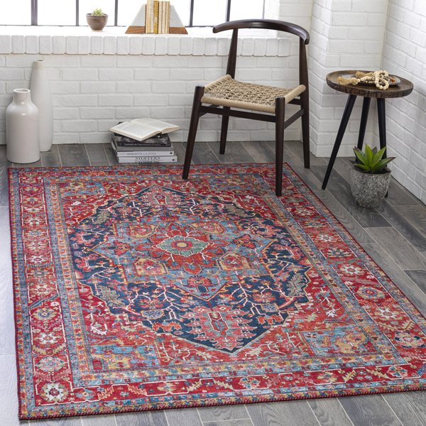 Red, Sky Blue, Navy (IRS-2316) Bohemian Area Rug