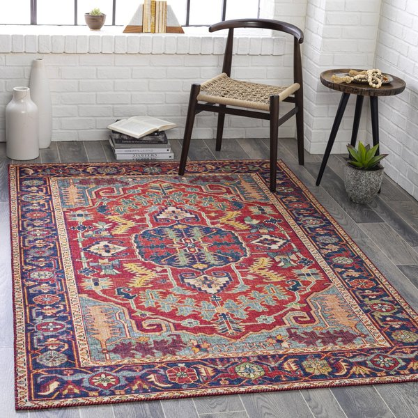 Red, Teal, Navy (IRS-2317) Bohemian Area Rug