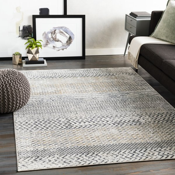 Light Grey, Charcoal (MLN-2308) Moroccan Area-Rugs