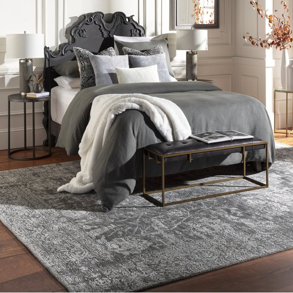 Charcoal, Light Gray, Black (LUC-2301) Traditional / Oriental Area-Rugs