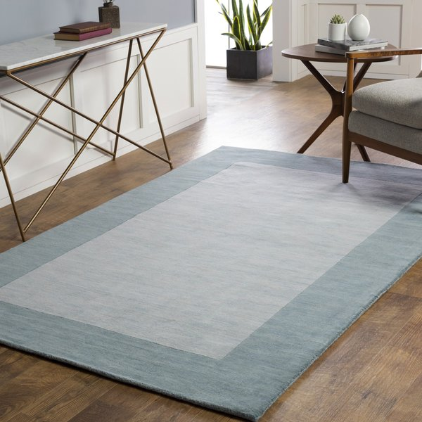 Pale Blue, Teal (M-5468) Contemporary / Modern Area Rug