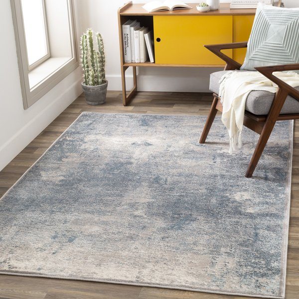 Ivory, Tan, Dark Blue, Aqua (MIE-1003) Abstract Area Rug