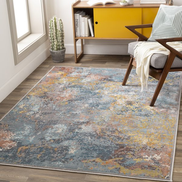Aqua, Terracotta, Ivory (MIE-1005) Abstract Area Rug