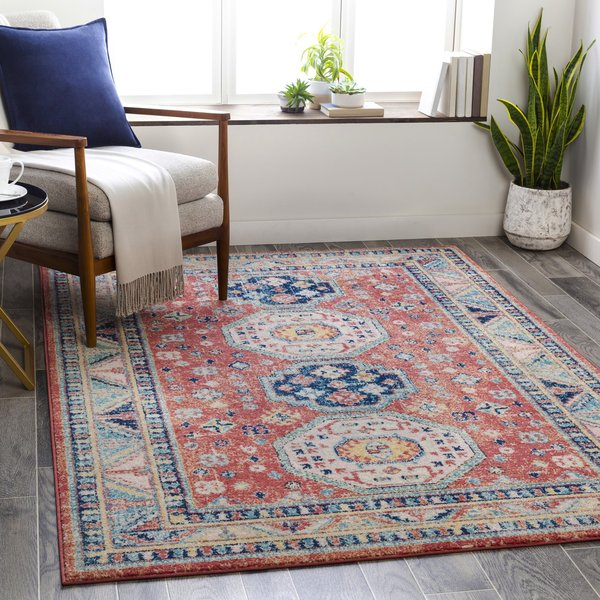 Red, Navy, Light Blue (MUT-2302) Vintage / Overdyed Area Rug