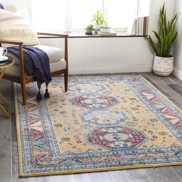 Yellow, Red, Blue (MUT-2305) Vintage / Overdyed Area Rug