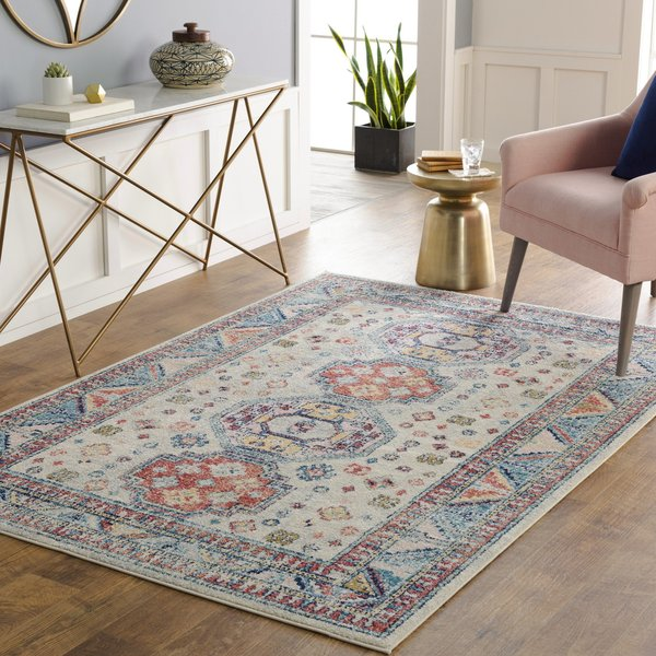 Cream, Coral, Blue (MUT-2306) Vintage / Overdyed Area Rug