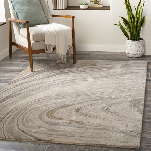 Light Grey, Ivory, Medium Grey (KVT-2304) Abstract Area Rug