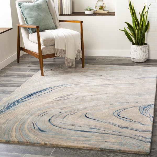 Taupe, Ivory, Grey, Blue (KVT-2308) Abstract Area Rug