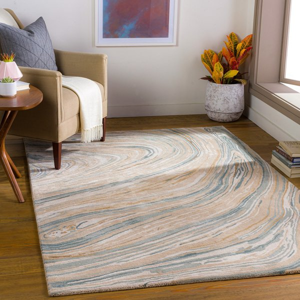 Camel, Beige, Cream (KVT-2309) Abstract Area Rug