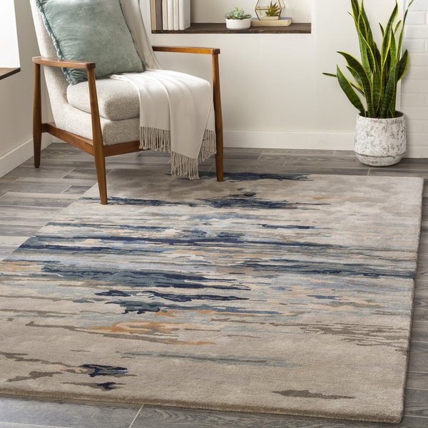 Taupe, Navy, Dark Green (KVT-2302) Abstract Area Rug