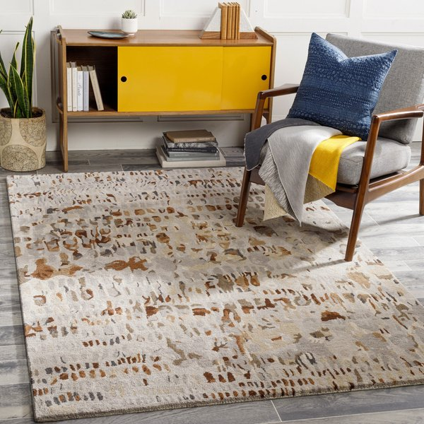 Dark Brown, Camel, Beige (KVT-2318) Abstract Area-Rugs