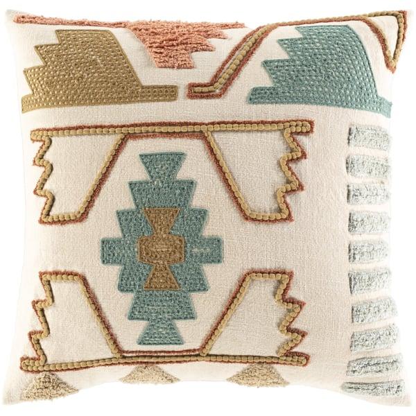 Beige, Olive, Teal (BIB-001) Southwestern pillow