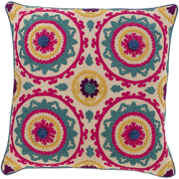 Bright Pink, Denim, Teal (KHV-002) Traditional / Oriental Pillow