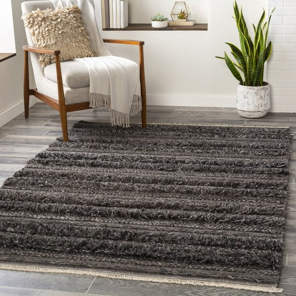 Charcoal, Black, Cream (LUG-2301) Contemporary / Modern Area Rug