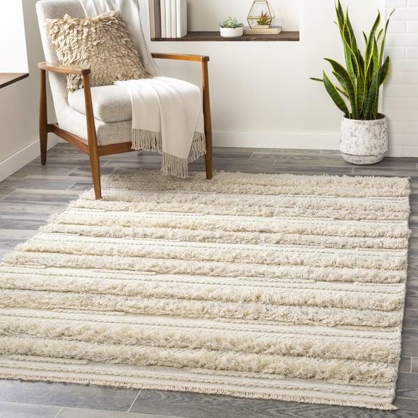 Medium Gray, Cream, White (LUG-2302) Contemporary / Modern Area Rug