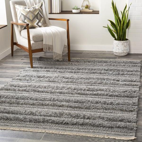 Medium Gray, Black, Cream (LUG-2303) Contemporary / Modern Area Rug