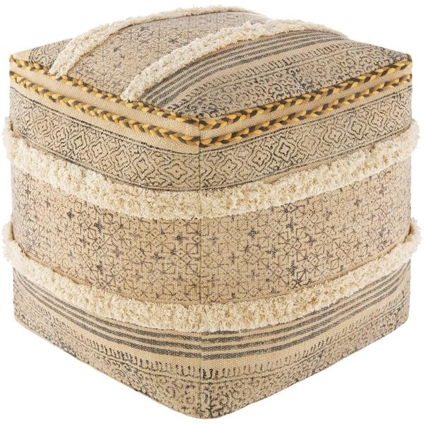 Wheat, Beige, Charcoal (DYPF-001) Moroccan Poufs